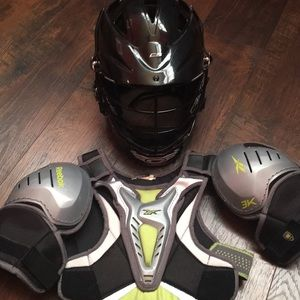 Youth Cascade Lacrosse helmet and shoulder pads